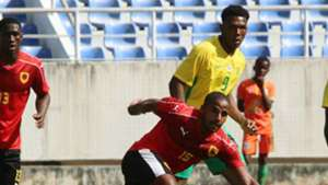 Wilson Gaspar of Angola closed down by Lebo Mothiba of South Africa