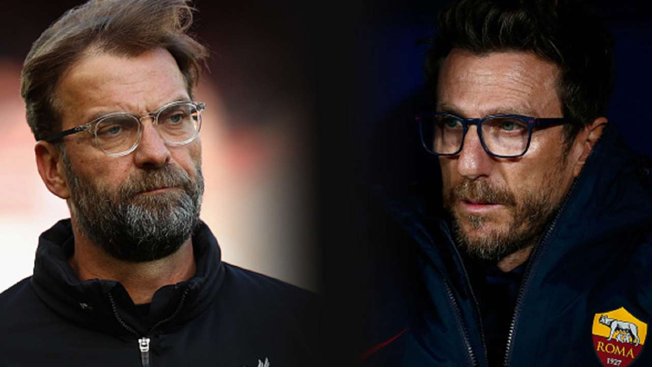 urgen Klopp of Liverpool and Head Coach of AS Roma Eusebio Di Francesco
