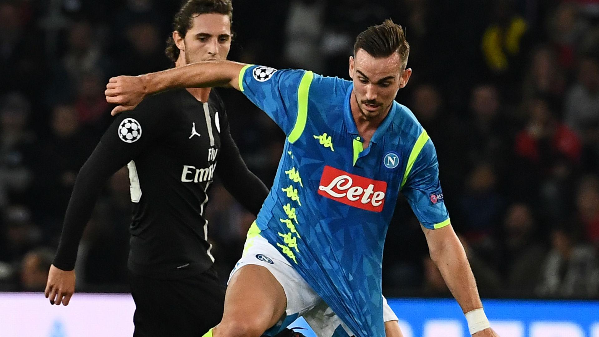 Adrien Rabiot Fabian Ruiz PSG Napoli UEFA Champions League 24102018