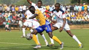 KCCA FC Anaku Sadat surges forward against African Stars in CAF Champions League qualifier game.
