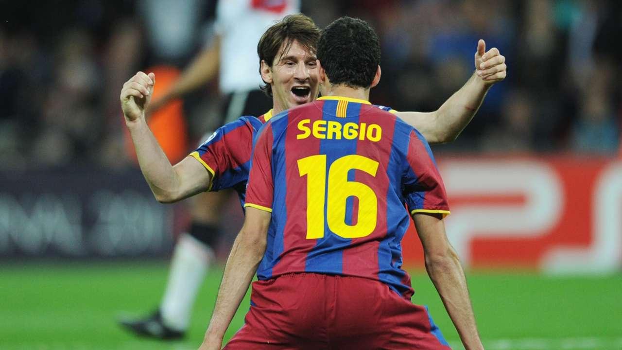 Lionel Messi Sergio Busquets Barcelona Champions League