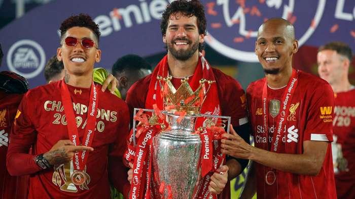 Roberto Firmino Alisson Fabinho Liverpool Premier League trophy