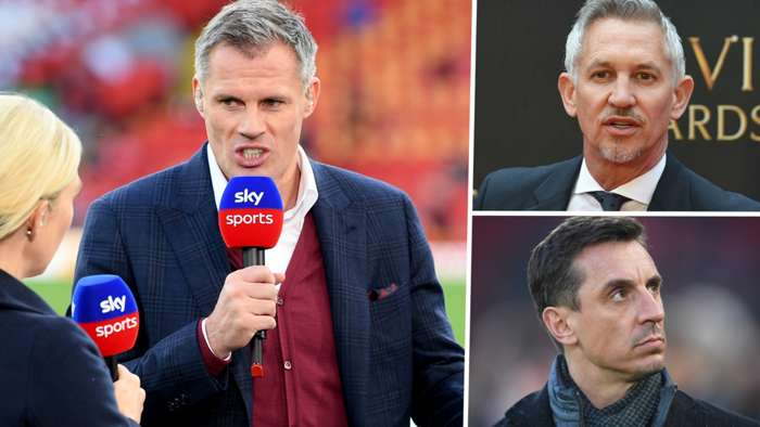 Pundits Jamie Carragher Gary Lineker Gary Neville