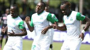 Gor Mahia striker Meddie Kagere and Timothy Otieno.j