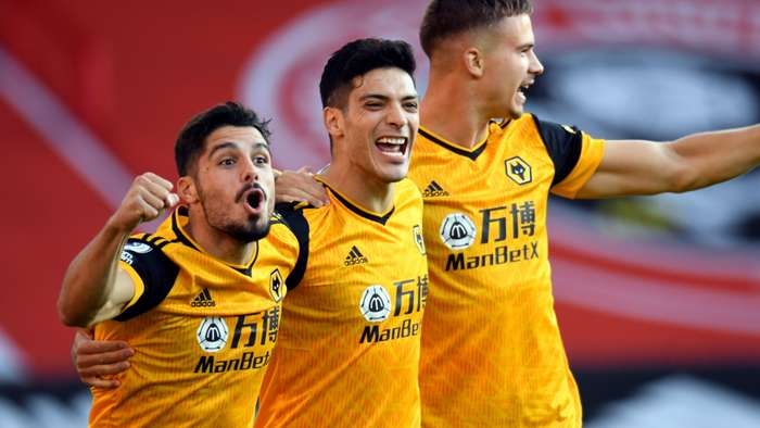 Wolves celebrate Raul Jimenez goal at Sheffield United, Premier League 2020-21