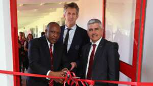 Dr Irvin Khoza (Chairman of the PSL) (l), Edwin van der Sar (CEO of Ajax Amsterdam) (c) and Ari Efstathiou (Chairman of Ajax Cape Town), November 2018