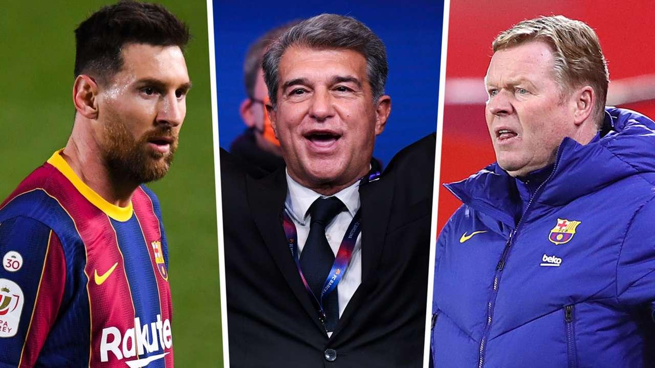 Lionel Messi Joan Laporta Ronald Koeman Barcelona GFX