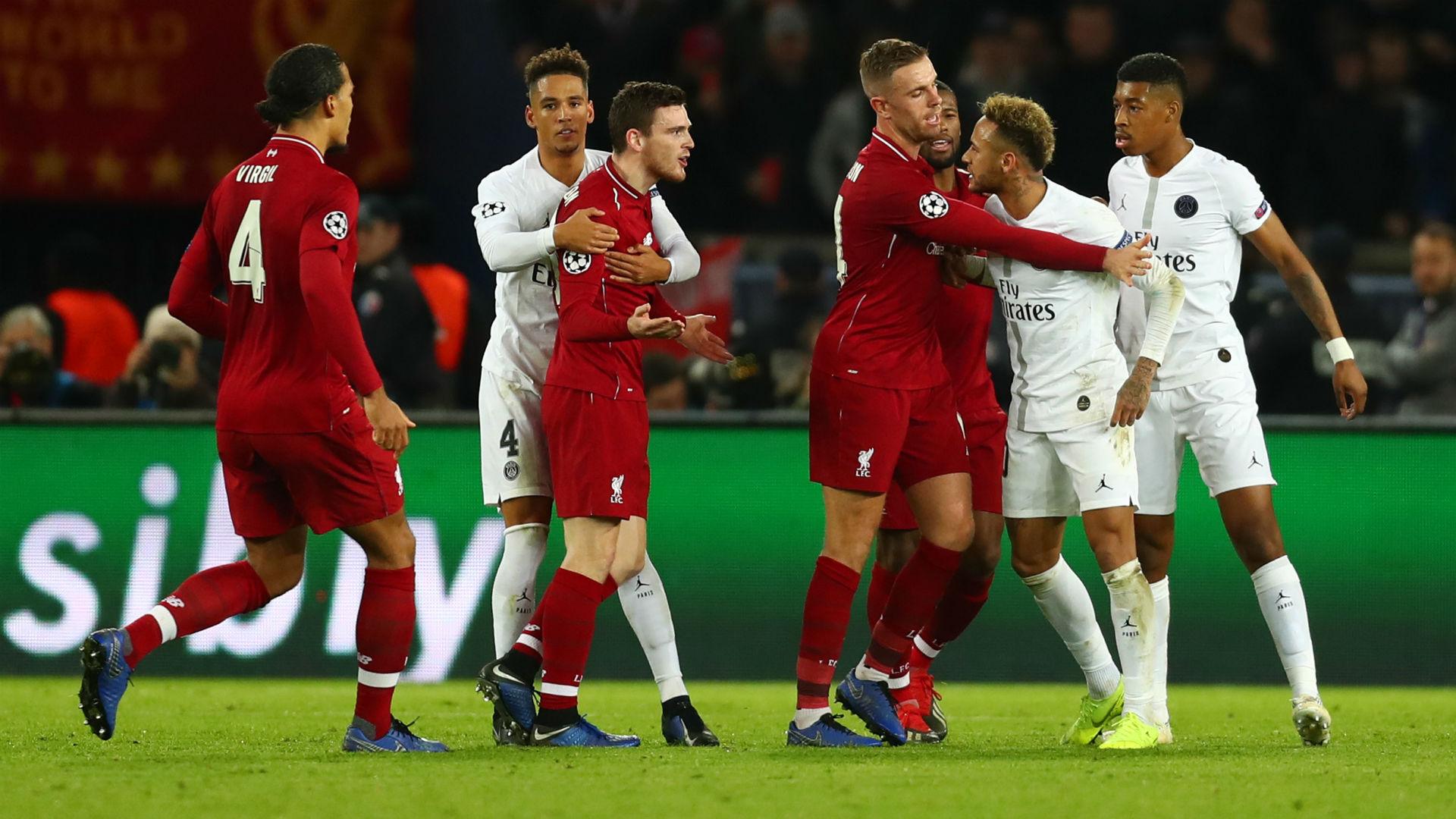 Neymar Andrew Robertson PSG Liverpool UEFA Champions League 28112018