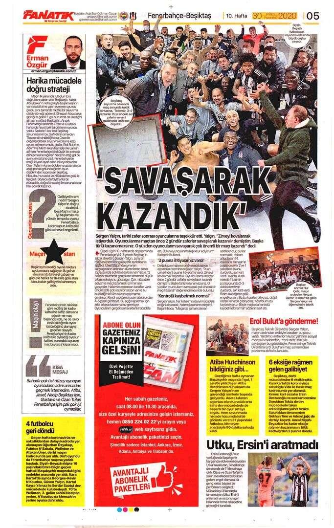 Gazete sayfaları 11302020