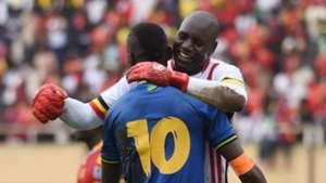 Mbwana Samatta of Tanzania and Denis Onyango, Uganda goalkeeper embrace after the 2019 Afcon Qualifiers match on 08 September 2018 at Mandela Stadium