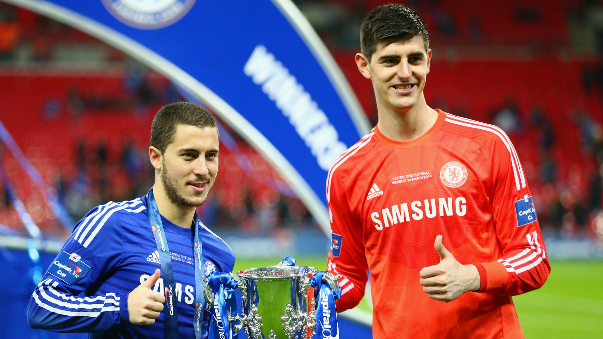 Courtois says he and Hazard talked about Real Madrid move in the Chelsea dressing room