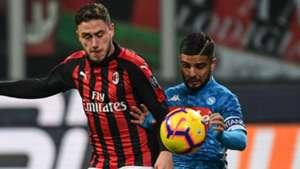 Davide Calabria, Lorenzo Insigne, AC Milan vs Napoli