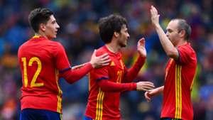 Hector Bellerin, David Silva, Andres Iniesta, Spain