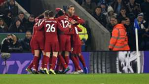 Liverpool celebrates goal against Leicester