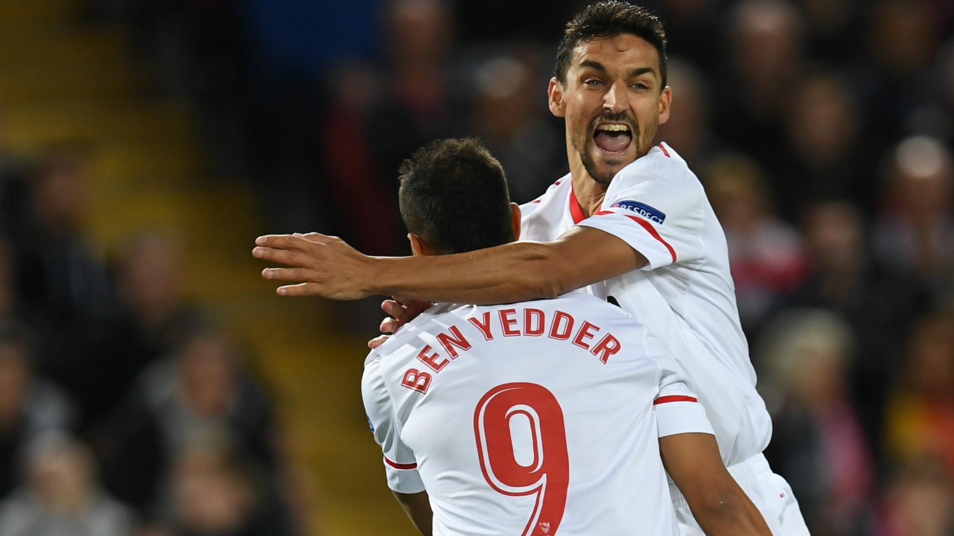 HD Sevilla celebrate v Liverpool