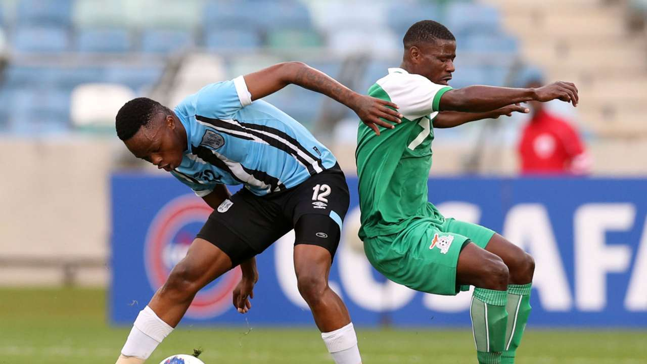 Mothusi Johnson of Botswana challenged by Ernest Mbewe of Zambia during the 2019 Cosafa Cup final match, June 2019