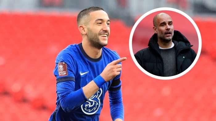Hakim Ziyech Pep Guardiola Chelsea Man City FA Cup 2020-21 GFX