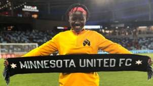 Blessing Kieh at the Minnesota United FC vs Aston Villa game during a USA Cup tour