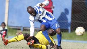 COLLINS SHVACHI of Tusker v WHYVONNE ISUZA of AFC Leopards.