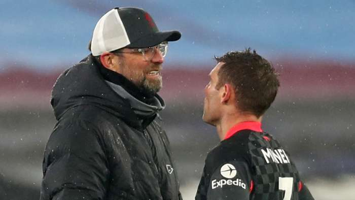 Jurgen Klopp James Milner West Ham vs Liverpool Premier League 2020-21