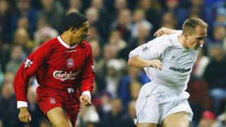 Jon Otsemobor and Henrik Pedersen of Bolton during the Carling Cup fourth round match between Liverpool and Bolton Wanderers at Anfield on November 3, 2003