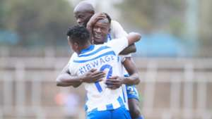 Alex Orotomal Michael Kibwage and Ezekiel Odera of AFC Leopards.