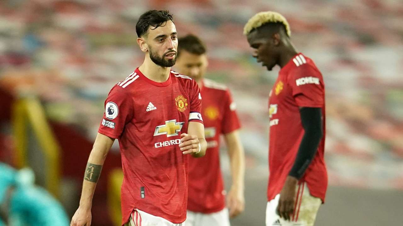 Bruno Fernandes Paul Pogba Manchester United Liverpool 2020-21