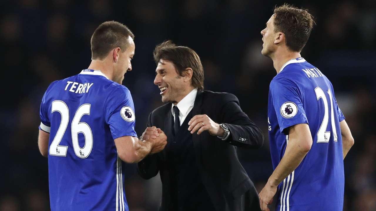Antonio Conte John Terry Nemanja Matic Chelsea Middlesbrough Premier League 08052017