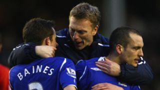 Leighton Baines, David Moyes, Leon Osman, Everton