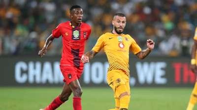 Daniel Cardoso of Kaizer Chiefs challenged by Thembinkosi Mbamba of TS Galaxy, May 2019