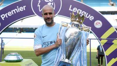 ONLY GERMANY Pep Guardiola Manchester City Premier League trophy