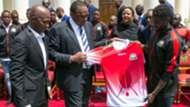 President Uhuru Kenyatta and FKF President Nick Mwendwa.