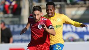 Mamelodi Sundowns v SuperSport United - August 2019 Dean Furman and Lebohang Maboe