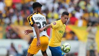 Gaston Sirino of Mamelodi Sundowns challenged by Yagan Sasman of Kaizer Chiefs, October 2019