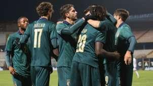Italy players celebrating Italy U21 Armenia U21 UEFA U21 European Championship Qualifier