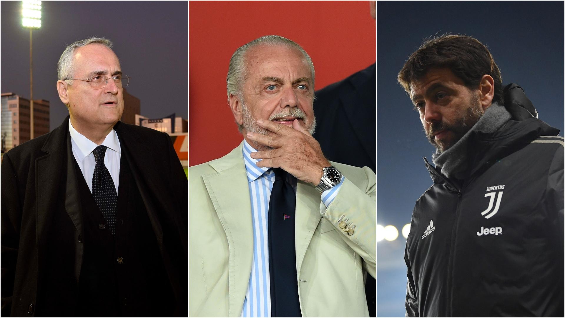 Serie A, Lotito e De Laurentiis: è scontro con Agnelli