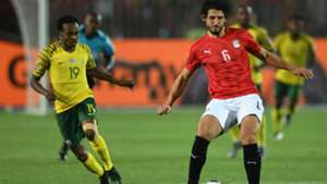 Egypt v South Africa Ahmed Hegazi and Percy Tau - July 2019