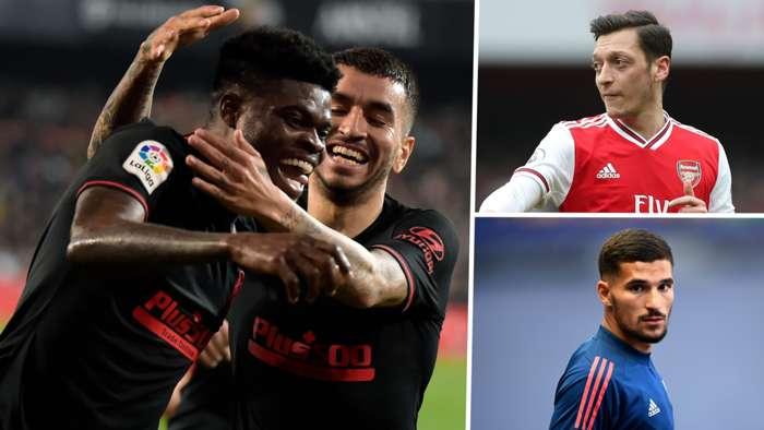 Thomas Partey Mesut Ozil Aouar Atletico Madrid Arsenal Lyon GFX
