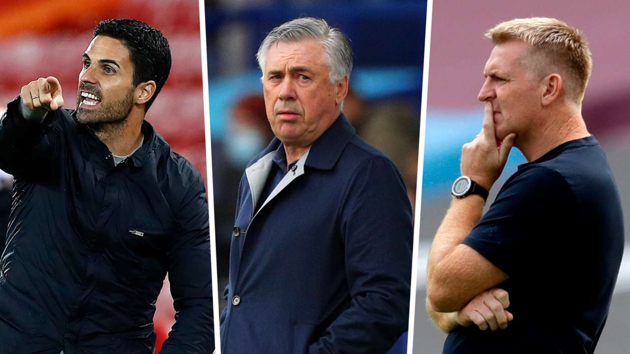Mikel Arteta Carlo Ancelotti Dean Smith Arsenal Everton Aston Villa GFX