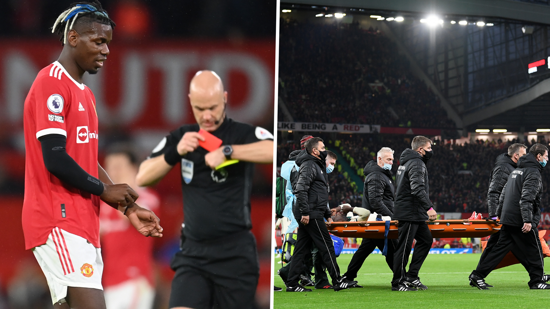 Pogba sent off after Keita horror challenge as Liverpool rout Manchester United
