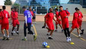 USM Alger players training at their hotel.