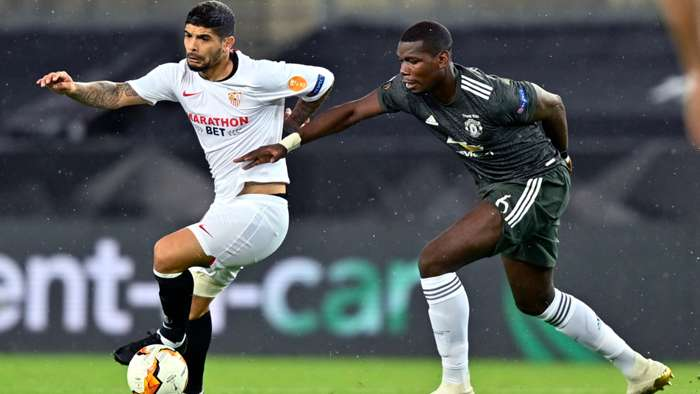 Ever Banega Sevilla Paul Pogba Manchester United 2019-20