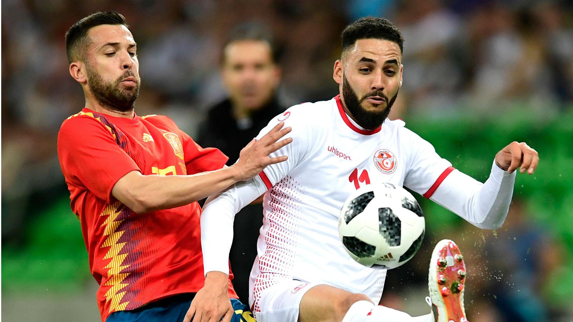 Jordi Alba Dylan Bronn Tunisia Spain international friendly 2018