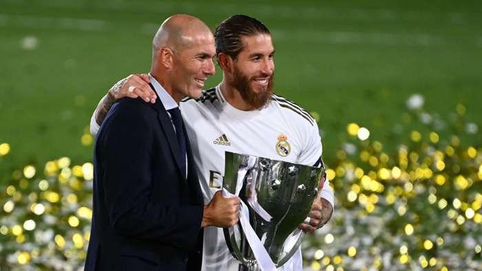 Zinedine Zidane Sergio Ramos Real Madrid title trophy 2019-20