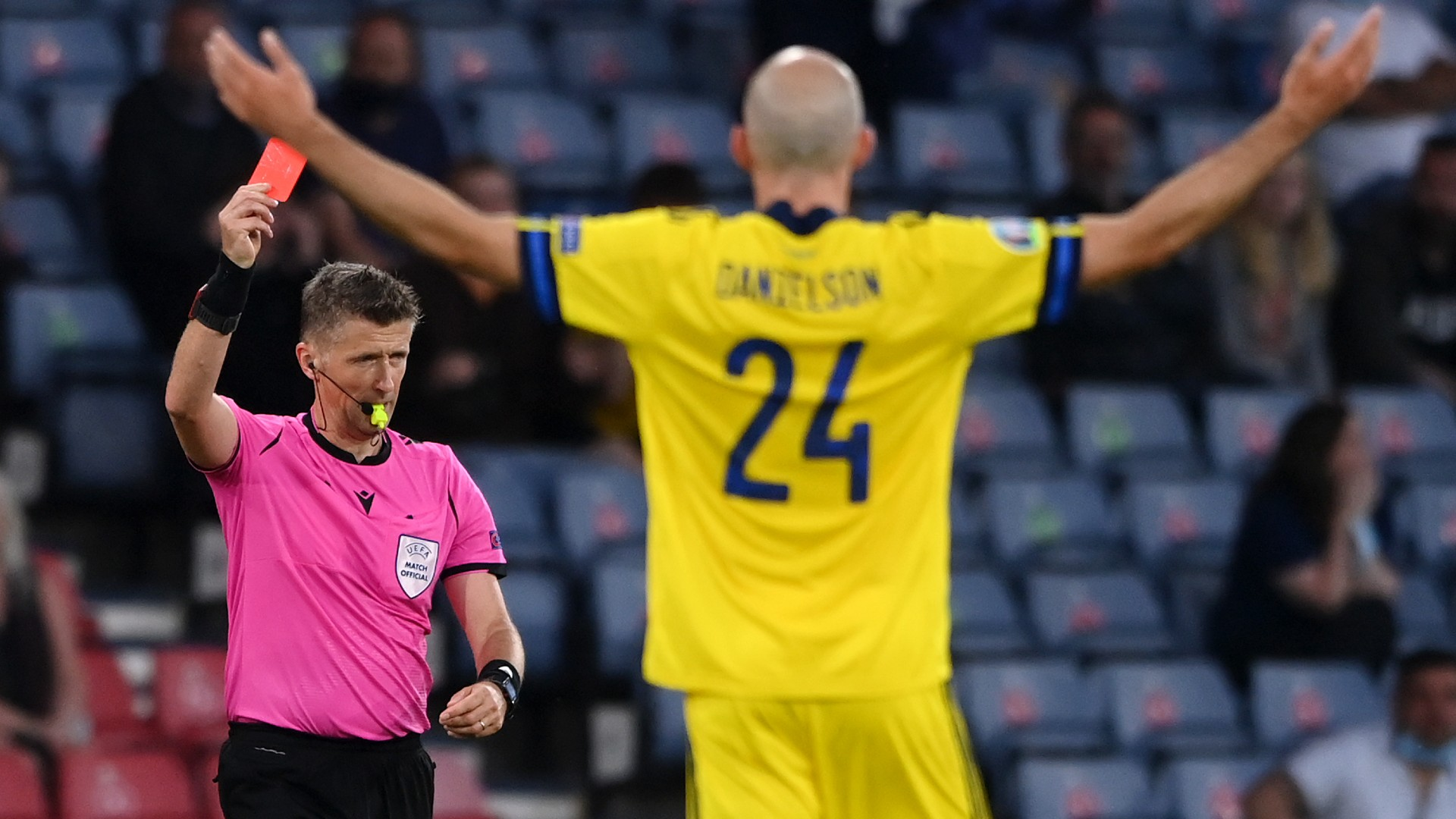 Danielson red card 'probably right' admits Sweden boss Andersson after Euro 2020 defeat