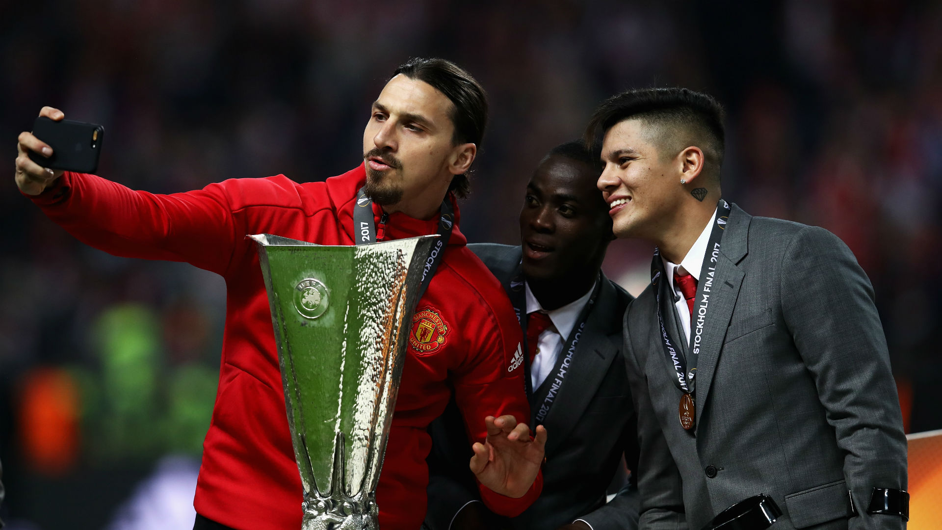 Zlatan Ibrahimovc Eric Bailly Marcos Rojo Manchester United Europa League