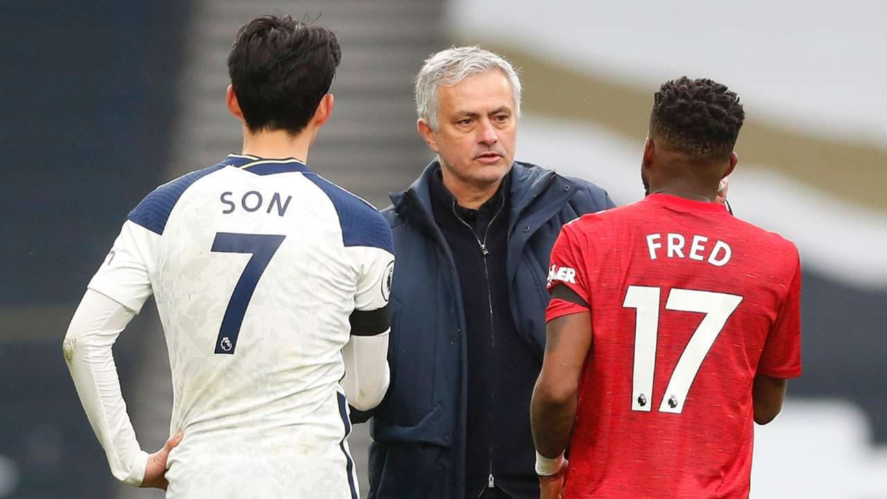 Jose Mourinho Son Heung-min Fred Tottenham vs Man Utd Premier League 2020-21