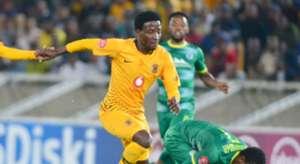 Siphelele Ntshangase of Kaizer Chiefs wins the ball from Talent Chawapiwa of Baroka FC