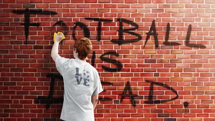 'Football is dead' graffiti GFX