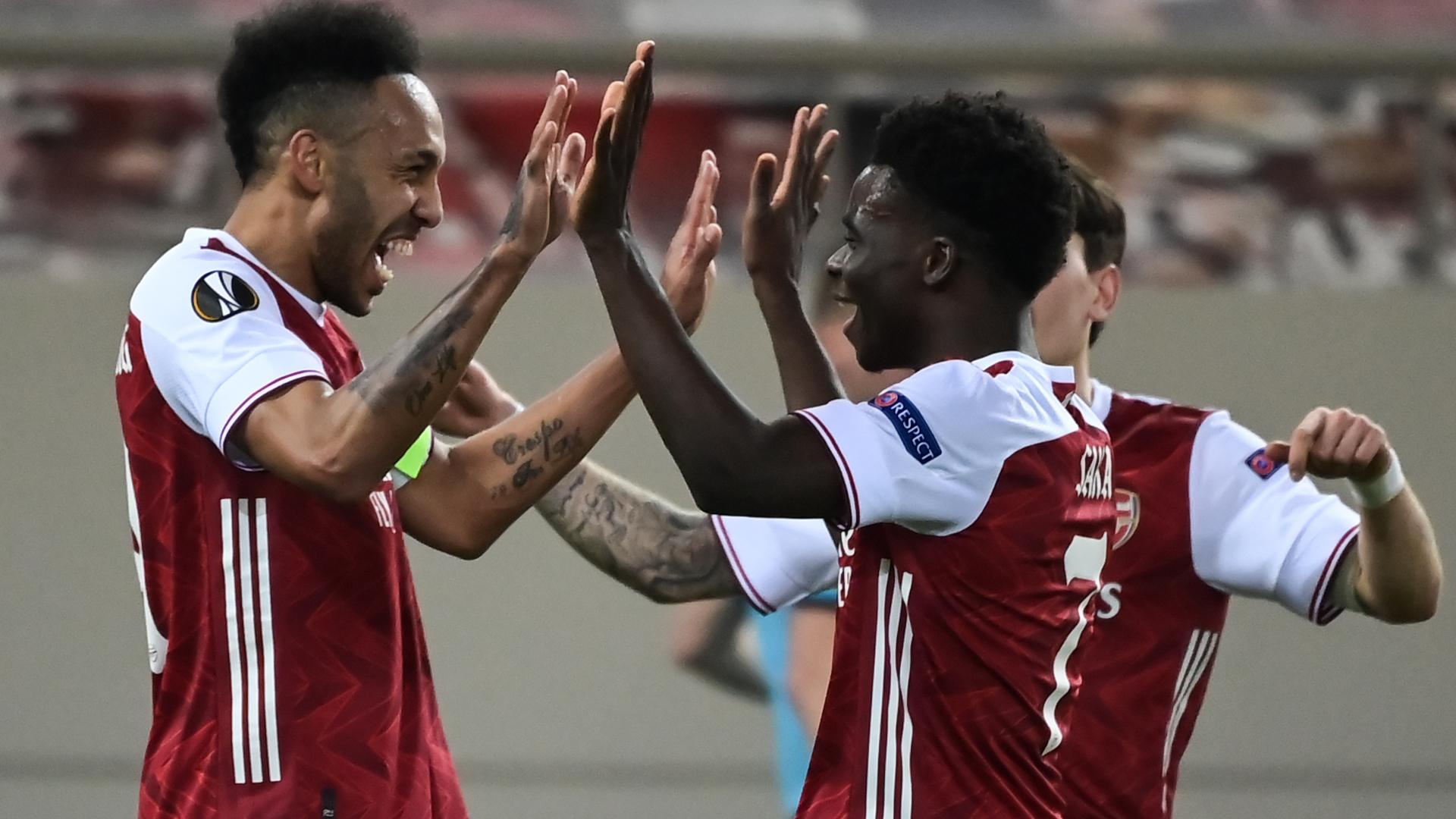 pierre emerick aubameyang bukayo saka arsenal europa league 2020